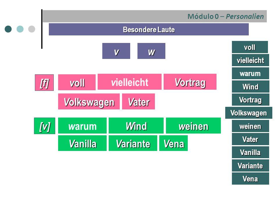 v w [f] voll vielleicht Vortrag Volkswagen Vater [v] warum Wind weinen